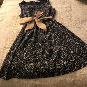 Forever21 Navy Dress with Tan Bow